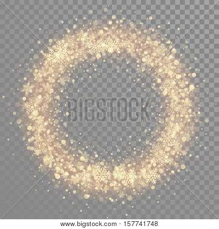 Decoration of golden snowflakes. Wreath of gold glitter snow. Christmas ornament decoration for Merry Christmas, Happy New Year, Xmas greeting card, poster, background