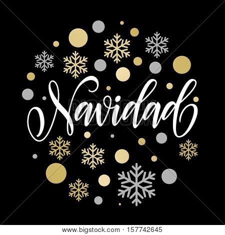Spanish greeting for Merry Christmas. Feliz Navidad card with golden and silver Christmas ornaments decoration of snowflakes. Calligraphic lettering design on white background