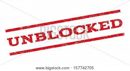 Unblocked watermark stamp. Text tag between parallel lines with grunge design style. Rubber seal stamp with dirty texture. Vector red color ink imprint on a white background.