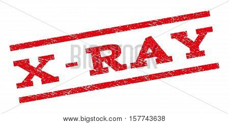 X-Ray watermark stamp. Text caption between parallel lines with grunge design style. Rubber seal stamp with unclean texture. Vector red color ink imprint on a white background.