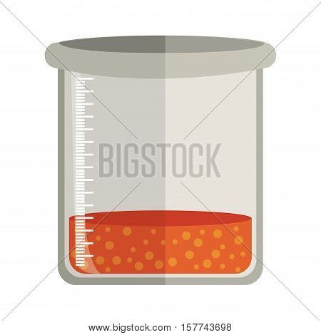 Glass bottle for laboratory with liquid solution vector illustration