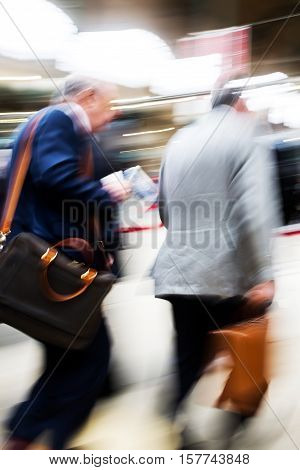 Traveling Businessmen At The Railway Station