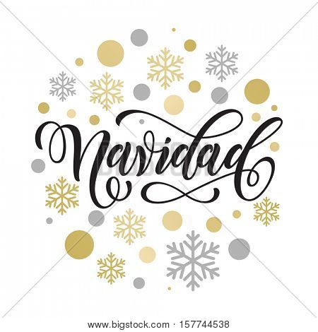 Merry Christmas in Spanish greeting. Feliz Navidad card with golden and silver Christmas ornaments decoration of snowflakes. Calligraphic lettering design