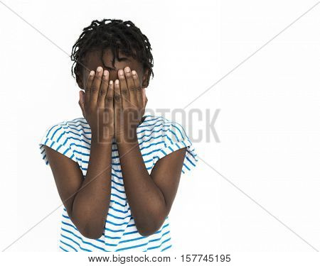 Girl Hand Cover Face Secret Concept