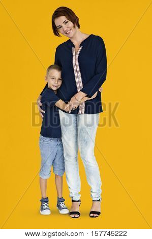 Mother Son Hugging Support Parent Child Concept