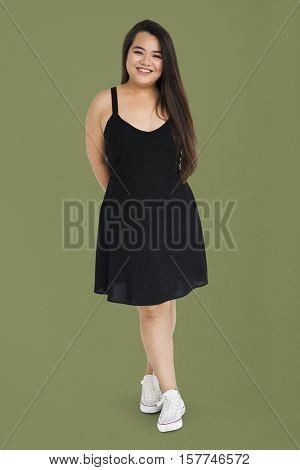 Asian Girl Posing Joyful Pretty Standing Studio Concept