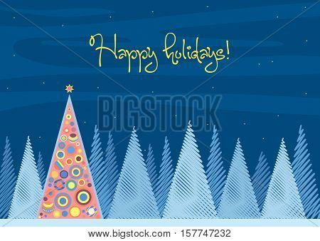 Beautiful Chrismas tree winter flat landscape background. Christmas forest woods in night. New Year Happy Holidays vector greeting card