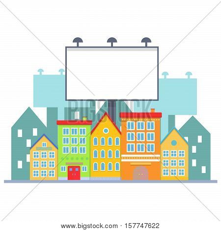 Big blank urban billboard over small city town street buildings. Cartoon Billboard advertisement commercial blank