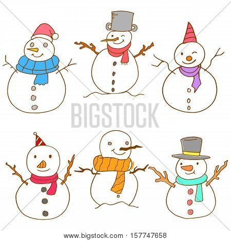 Doodle of snowman set vector collection stock