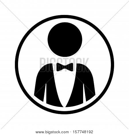 silhouette sphere of half body icon man formal style with bowtie vector illustration