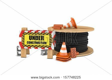 3d rendering of a wooden barrier with the under construction sign, a big cable drum and some traffic cones, bricks, and concrete blocks lying around. Safety gear and equipment. Construction site. Barriers and warning signs.