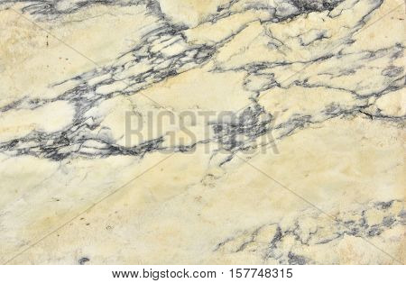 Ancient yellow marble slab with black veins background