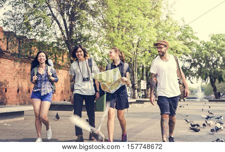 Friends Travel Backpacker Adventure Concept