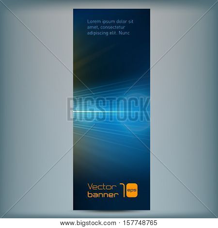 Modern banner with abstract background and flair. Vector illustration. Vertical template