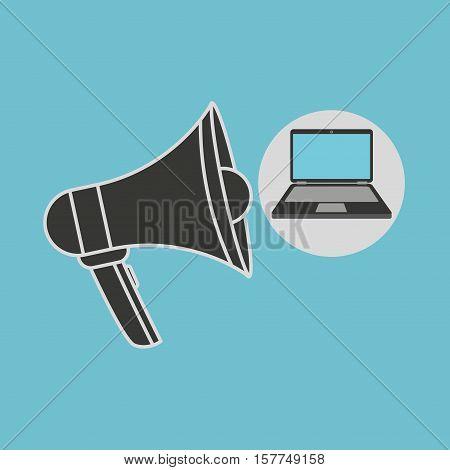 notebook computer megaphone speaker icon vector illustration eps 10