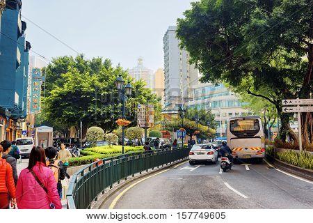 Macau - January 30, 2015: Streets Of Macau. Macau Is A Popular T
