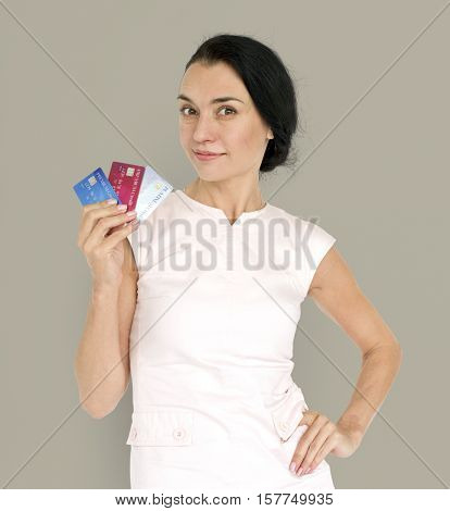 Eurasian Lady Holding Credit Cards Concept