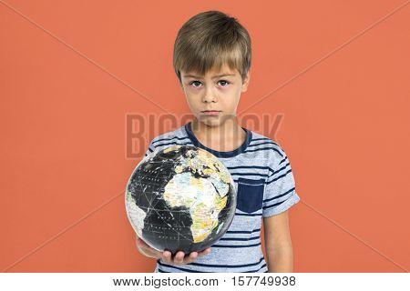 Little Boy Kid Adorable Cute Playful Globe Portrait Concept