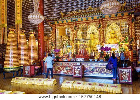 Golden Buddha Statues In The Interior Of The Ten Thousand Buddhas Monastery In Hong Kong