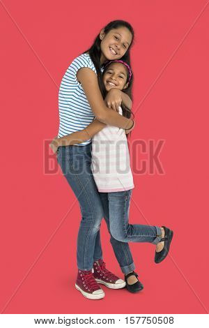 Sister Children Enjoyment Kid Support Concept