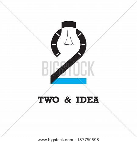 Two number icon and light bulb abstract logo design vector template.Business and education logotype idea concept.Vector illustration