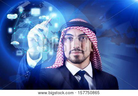 Arab man in cloud computing concept