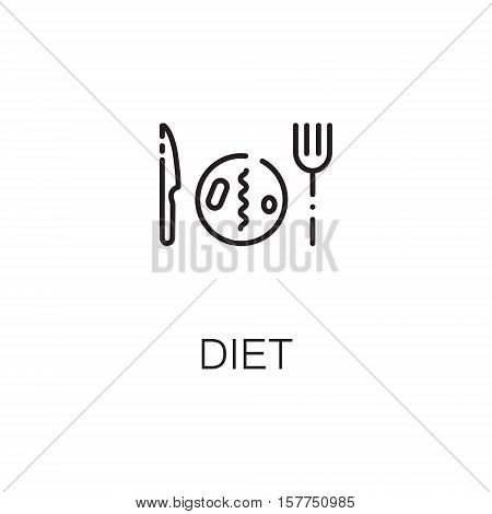 Diet flat icon. Single high quality outline symbol of healthy eating for web design or mobile app. Thin line signs of diet for design logo, visit card, etc. Outline pictogram of diet