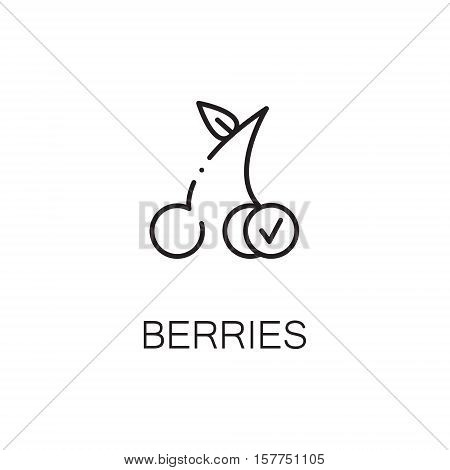 Cherry flat icon. Single high quality outline symbol of berry for web design or mobile app. Thin line signs of berries for design logo, visit card, etc. Outline pictogram of cherry
