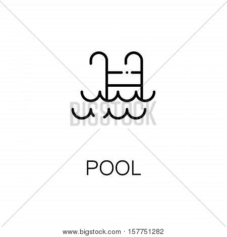 Pool flat icon. Single high quality outline symbol of fitness for web design or mobile app. Thin line signs of pool for design logo, visit card, etc. Outline pictogram of pool