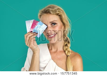 Blonde Girl Holding Credit Cards Concept
