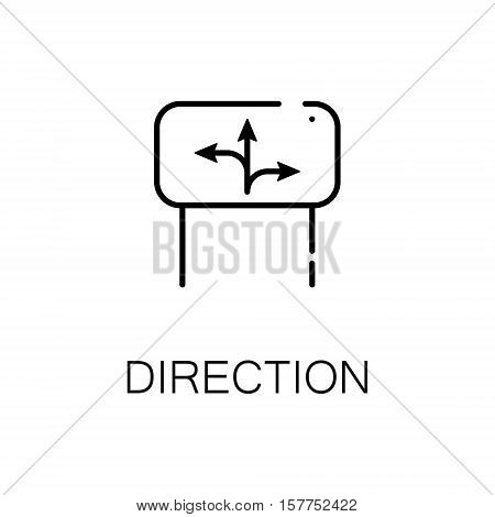 Direction flat icon. Single high quality outline symbol of travel for web design or mobile app. Thin line signs of tourism for design logo, visit card, etc. Outline pictogram of signpost