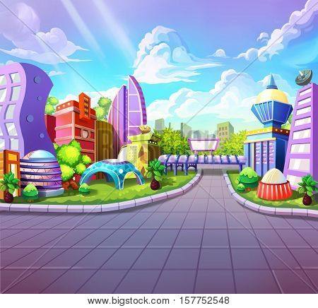 Fantastic Futuristic City. Video Game's Digital CG Artwork, Concept Illustration, Realistic Cartoon Style Background