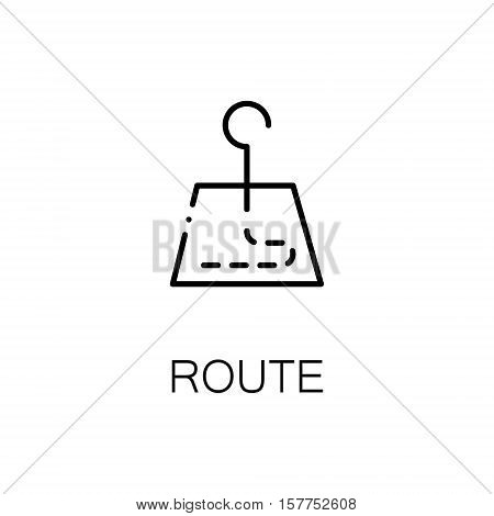 Route flat icon. Single high quality outline symbol of travel for web design or mobile app. Thin line signs of tourism for design logo, visit card, etc. Outline pictogram of route
