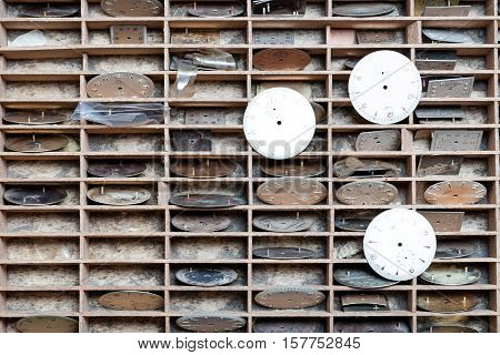 Shelves With Quadrants In A Clockmaker Shop