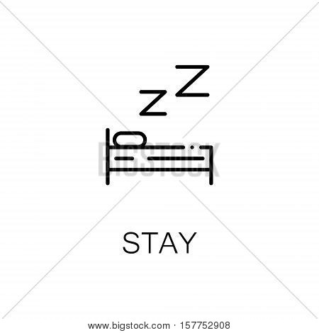 Bed flat icon. Single high quality outline symbol of travel for web design or mobile app. Thin line signs of tourism for design logo, visit card, etc. Outline pictogram of stay