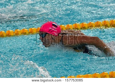 Hong Kong China - Oct 29 2016. Russian olympian and world champion breaststroke swimmer Yulia Yefimova swimming butterfly. FINA Swimming World Cup Preliminary Heats Victoria Park Swimming Pool.