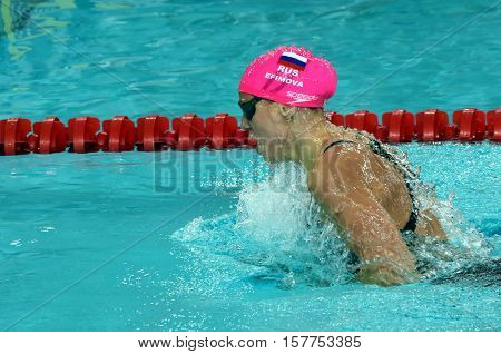 Hong Kong China - Oct 29 2016. Russian olympian and world champion breaststroke swimmer Yulia Yefimova swimming breaststroke. FINA Swimming World Cup Preliminary Heats Victoria Park Swimming Pool.