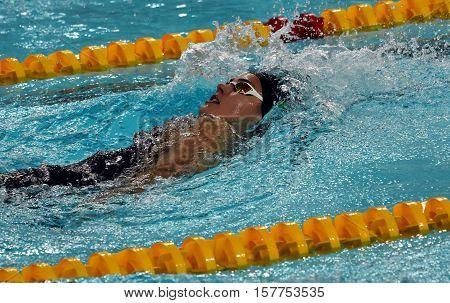 Hong Kong China - Oct 29 2016. Hungarian swimmer Zsuzsanna Jakabos swimming backstroke. FINA Swimming World Cup Preliminary Heats Victoria Park Swimming Pool.