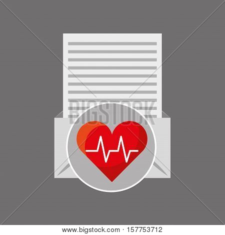 email open envelope paper heart cardiology vector illustration eps 10