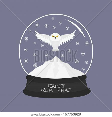 Snowy white owl. Flying bird Big wings. Yellow eyes. Arctic Polar animal collection. Crystal ball with snow. Happy New Year card Flat design Violet background. Vector illustration