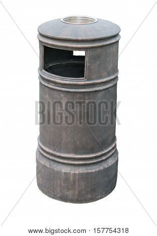 Trash can with ash tray white metal clipping path