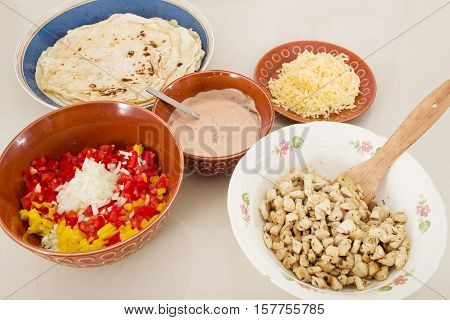 prepared ingredients for fajita, doner kebab, shwarma, burritos