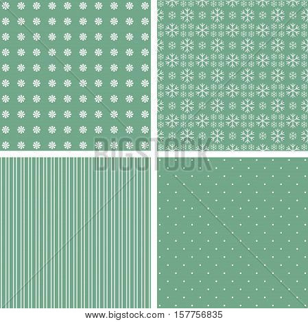 Collection of green patterns. Vector baby illustration.