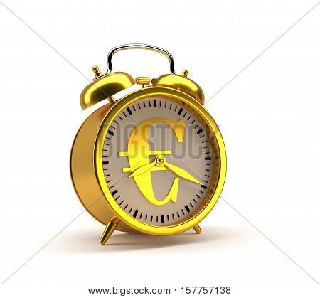 Golden alarm clock with euro sign and clipping path.