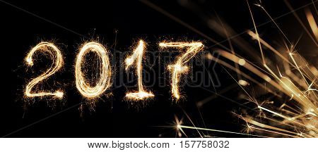 2017 Written With Sparkle Firework, 2017 Happy New Year Background Concept.