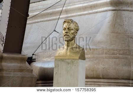 PARIS FRANCE - OCTOBER 14 2013: Bust of Gustave Eiffel