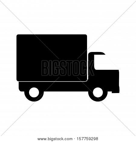 monochrome transport truck with wagon and wheels vector illustration