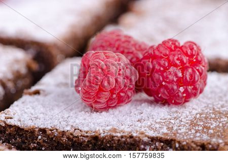 Raspberries sprinkled with icing sugar on chocolate cake, close-up
