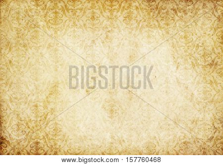 Old yellowed paper background with old-fashioned patterns. Vintage paper texture for the design.