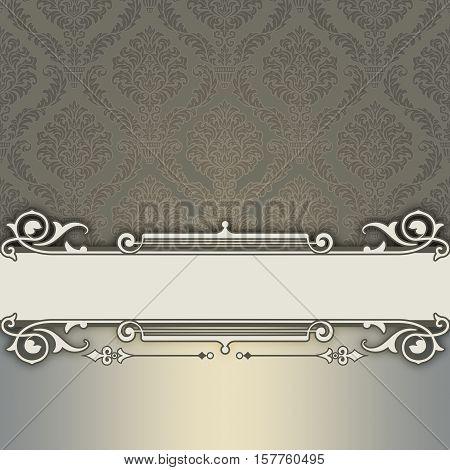Old-fashioned elegant background with decorative border and vintage patterns. Vintage invitation card design.